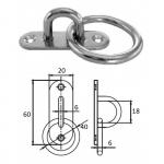 Планка овальная с проушиной и кольцом 6 мм AISI 304