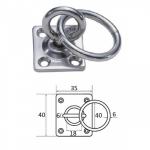Планка квадратная с поворотной проушиной и кольцом 6мм