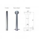 Стойка столешницы 80х765 мм, алюминий (3660024-A)