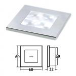 Светильник для подсветки палуб и трапов светодиодный 60х60мм, хром.корпус