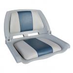 Сиденье пластмассовое складное с подложкой Molded Fold-Down Boat Seat,серо-голубое