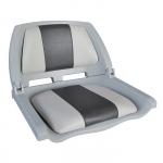 Сиденье пластмассовое складное с подложкой Molded Fold-Down Boat Seat,серо-чёрное