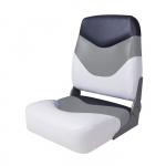 Сиденье мягкое складное Premium High Back Boat Seat, бело-серое