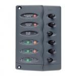 Панель переключателей 6шт брызгозащищенная с предохранителями типа PTC